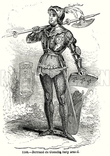 Bertrand du Guesclin fully armed. Illustration from Old England, A Pictorial Museum edited by Charles Knight (James Sangster & Co, c 1845).