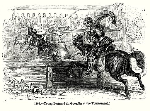 Young Bertrand du Guesclin at the Tournament. Illustration from Old England, A Pictorial Museum edited by Charles Knight (James Sangster & Co, c 1845).