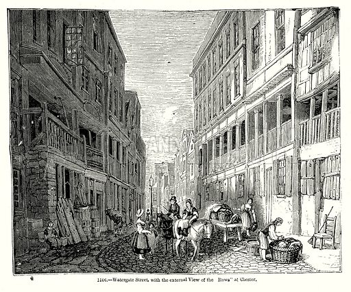 "Watergate Street, with the External View of the Rows"" at Chester. Illustration from Old England, A Pictorial Museum edited by Charles Knight (James Sangster & Co, c 1845)."
