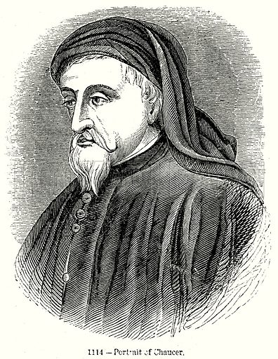Portrait of Chaucer. Illustration from Old England, A Pictorial Museum edited by Charles Knight (James Sangster & Co, c 1845).