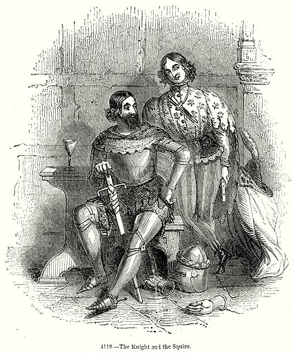 The Knight and the Squire. Illustration from Old England, A Pictorial Museum edited by Charles Knight (James Sangster & Co, c 1845).
