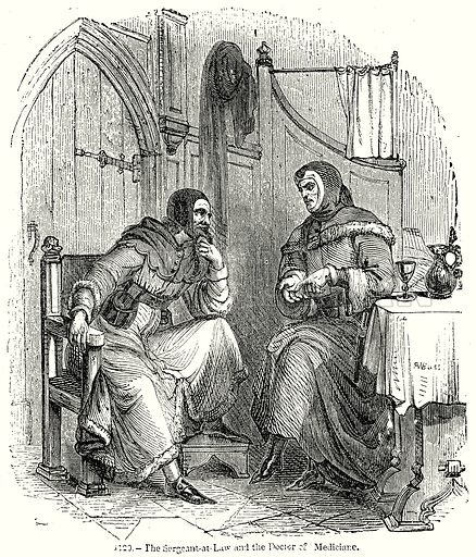 The Sergeant-at-Law and the Doctor of Mediciane. Illustration from Old England, A Pictorial Museum edited by Charles Knight (James Sangster & Co, c 1845).