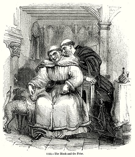The Monk and the Friar. Illustration from Old England, A Pictorial Museum edited by Charles Knight (James Sangster & Co, c 1845).