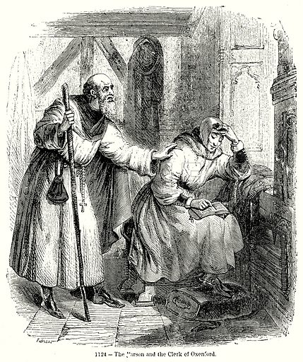 The Parson and the Clerk of Oxenford. Illustration from Old England, A Pictorial Museum edited by Charles Knight (James Sangster & Co, c 1845).