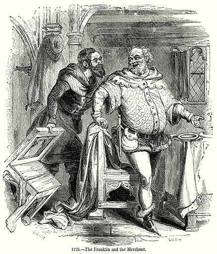 The Franklin and the Merchant. Illustration from Old England, A Pictorial Museum edited by Charles Knight (James Sangster & Co, c 1845).
