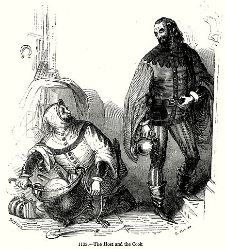 The Host and the Cook. Illustration from Old England, A Pictorial Museum edited by Charles Knight (James Sangster & Co, c 1845).