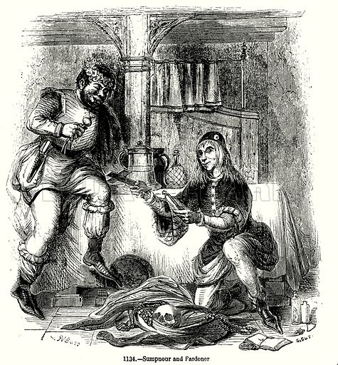 Sumpnour and Pardoner. Illustration from Old England, A Pictorial Museum edited by Charles Knight (James Sangster & Co, c 1845).
