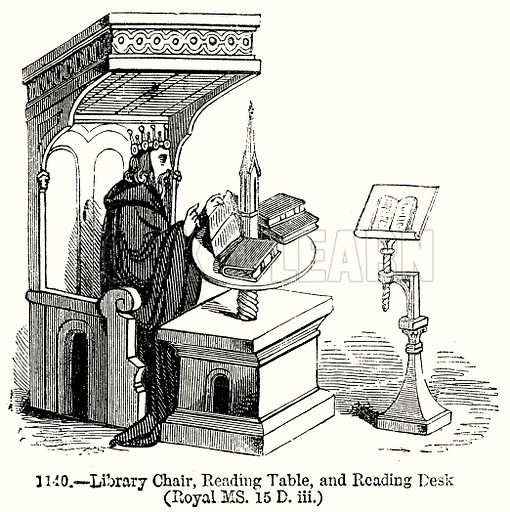 Library Chair, Reading Table, and Reading Desk (Royal MS 15 D iii.) Illustration from Old England, A Pictorial Museum edited by Charles Knight (James Sangster & Co, c 1845).