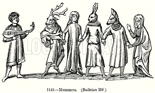 Mummers. (Bodleian MS). Illustration from Old England, A Pictorial Museum edited by Charles Knight (James Sangster & Co, c 1845).