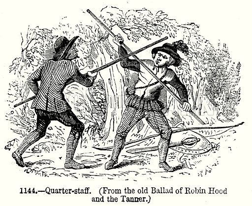 Quarter-Staff. Illustration from Old England, A Pictorial Museum edited by Charles Knight (James Sangster & Co, c 1845).
