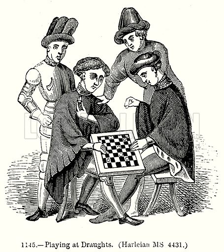 Playing at Draughts. (Harleian MS 4431.) Illustration from Old England, A Pictorial Museum edited by Charles Knight (James Sangster & Co, c 1845).