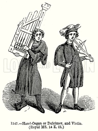 Hand-Organ or Dulcimer, and Violin. (Royal MS. 14 E. iii.) Illustration from Old England, A Pictorial Museum edited by Charles Knight (James Sangster & Co, c 1845).