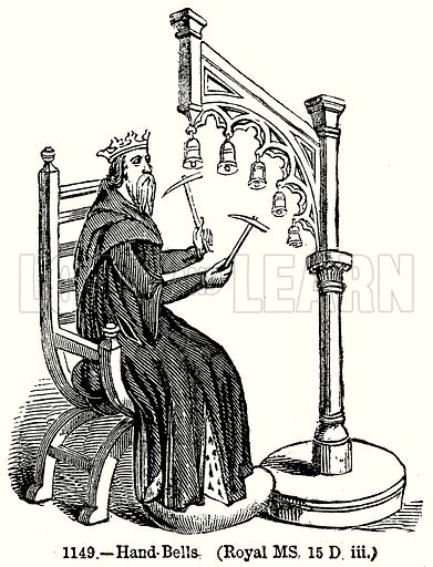 Hand Bells. (Royal MS, 15 D iii.) Illustration from Old England, A Pictorial Museum edited by Charles Knight (James Sangster & Co, c 1845).