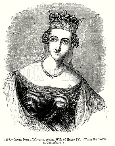 Queen Joan of Navarre, second Wife of Henry IV. Illustration from Old England, A Pictorial Museum edited by Charles Knight (James Sangster & Co, c 1845).