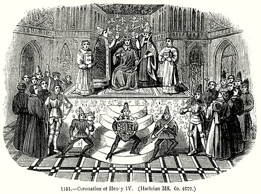 Coronation of Henry IV. (Harleian MS. No. 4679.) Illustration from Old England, A Pictorial Museum edited by Charles Knight (James Sangster & Co, c 1845).