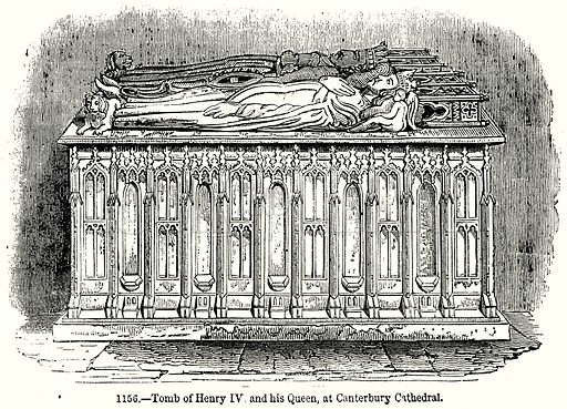Tomb of Henry IV and his Queen, at Canterbury Cathedral. Illustration from Old England, A Pictorial Museum edited by Charles Knight (James Sangster & Co, c 1845).