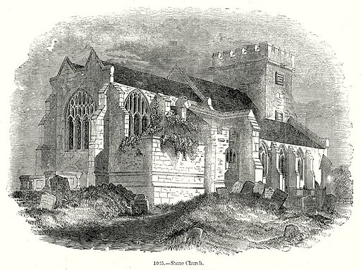 Stone Chruch. Illustration from Old England, A Pictorial Museum edited by Charles Knight (James Sangster & Co, c 1845).
