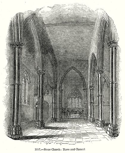 Stone Church: Nave and Chancel. Illustration from Old England, A Pictorial Museum edited by Charles Knight (James Sangster & Co, c 1845).