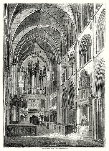 Choir of St. Patrick's Cathedral. Illustration from Old England, A Pictorial Museum edited by Charles Knight (James Sangster & Co, c 1845).