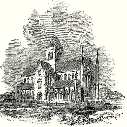 St Magnus, Kirkwall. Illustration from Old England, A Pictorial Museum edited by Charles Knight (James Sangster & Co, c 1845).