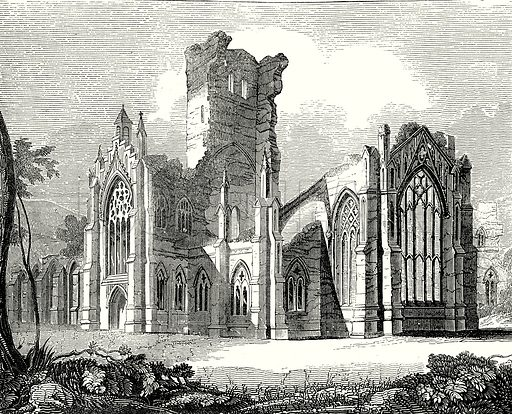 South-East view of Melrose Abbey. Illustration from Old England, A Pictorial Museum edited by Charles Knight (James Sangster & Co, c 1845).
