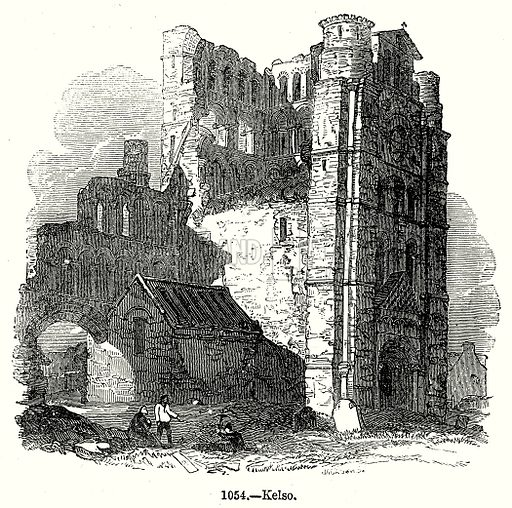 Kelso. Illustration from Old England, A Pictorial Museum edited by Charles Knight (James Sangster & Co, c 1845).