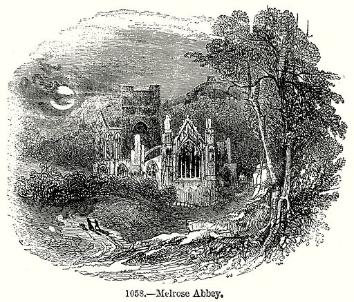 Melrose Abbey. Illustration from Old England, A Pictorial Museum edited by Charles Knight (James Sangster & Co, c 1845).