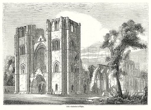 Cathedral of Elgin. Illustration from Old England, A Pictorial Museum edited by Charles Knight (James Sangster & Co, c 1845).
