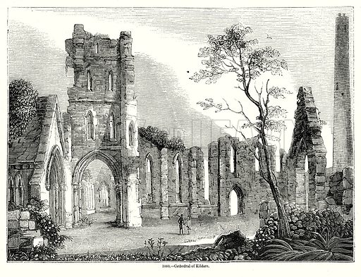 Cathedral of Kildare. Illustration from Old England, A Pictorial Museum edited by Charles Knight (James Sangster & Co, c 1845).