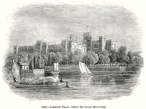 Lambeth Palace, before the recent Alterations. Illustration from Old England, A Pictorial Museum edited by Charles Knight (James Sangster & Co, c 1845).