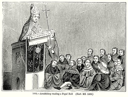 Archbishop reading a Papal Bull (Harl. MS 1319.) Illustration from Old England, A Pictorial Museum edited by Charles Knight (James Sangster & Co, c 1845).