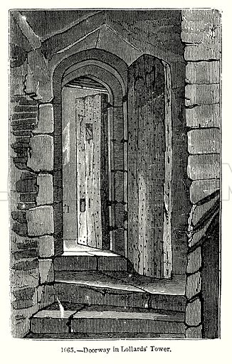 Doorway in Lollards' Tower. Illustration from Old England, A Pictorial Museum edited by Charles Knight (James Sangster & Co, c 1845).