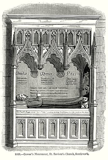 Gower's Monument, St. Saviour's Church, Southwark. Illustration from Old England, A Pictorial Museum edited by Charles Knight (James Sangster & Co, c 1845).