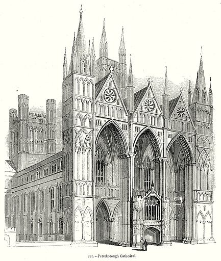 Peterborough Cathedral. Illustration from Old England, A Pictorial Museum edited by Charles Knight (James Sangster & Co, c 1845).