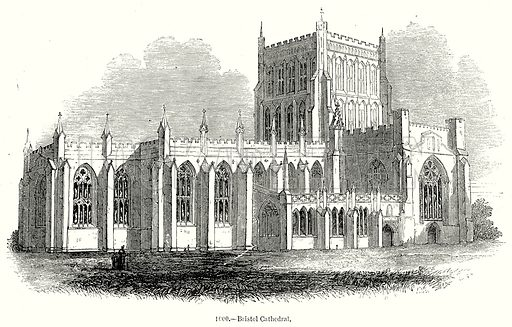 Bristol Cathedral. Illustration from Old England, A Pictorial Museum edited by Charles Knight (James Sangster & Co, c 1845).