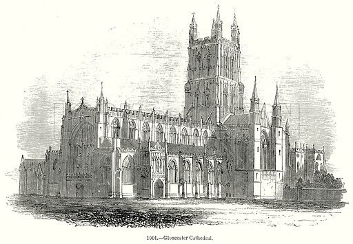 Gloucester Cathedral. Illustration from Old England, A Pictorial Museum edited by Charles Knight (James Sangster & Co, c 1845).