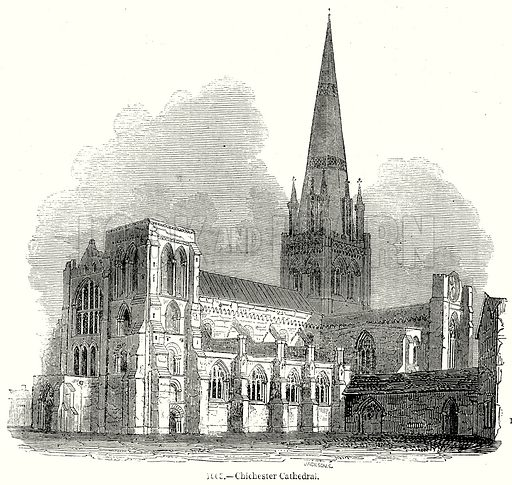 Chichester Cathedral. Illustration from Old England, A Pictorial Museum edited by Charles Knight (James Sangster & Co, c 1845).