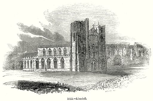 Llandaff. Illustration from Old England, A Pictorial Museum edited by Charles Knight (James Sangster & Co, c 1845).