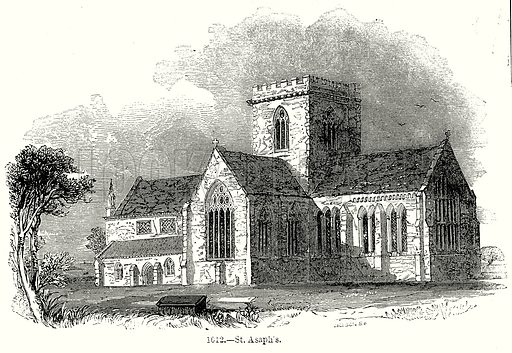 St. Asaph's. Illustration from Old England, A Pictorial Museum edited by Charles Knight (James Sangster & Co, c 1845).
