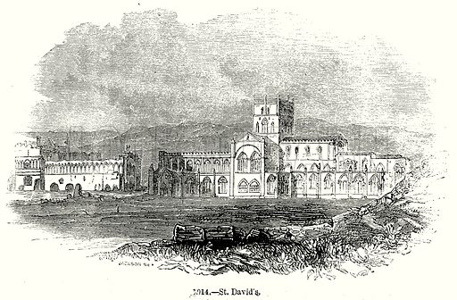 St. David's. Illustration from Old England, A Pictorial Museum edited by Charles Knight (James Sangster & Co, c 1845).
