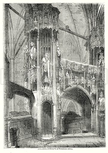 Shrine of Henry V, in Westminster Abbey. Illustration from Old England, A Pictorial Museum edited by Charles Knight (James Sangster & Co, c 1845).