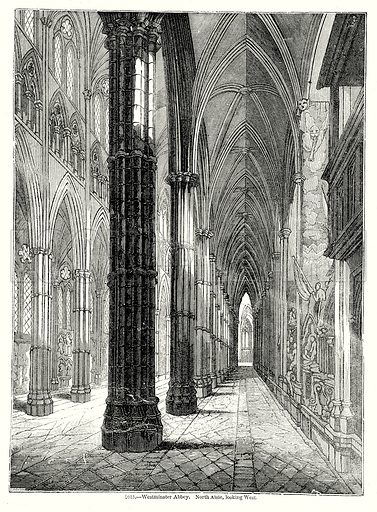 Westminster Abbey. North Aisle, looking West. Illustration from Old England, A Pictorial Museum edited by Charles Knight (James Sangster & Co, c 1845).