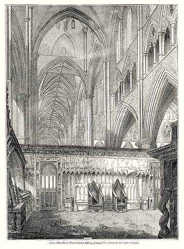 The Nave, Westminster Abbey, looking West from St. Edward's Chapel. Illustration from Old England, A Pictorial Museum edited by Charles Knight (James Sangster & Co, c 1845).