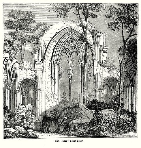 Ruins of Netley Abbey. Illustration from Old England, A Pictorial Museum edited by Charles Knight (James Sangster & Co, c 1845).