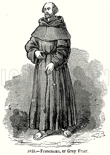 Franciscan, or Grey Friar. Illustration from Old England, A Pictorial Museum edited by Charles Knight (James Sangster & Co, c 1845).