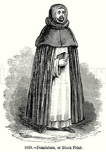 Dominican, or Black Friar. Illustration from Old England, A Pictorial Museum edited by Charles Knight (James Sangster & Co, c 1845).