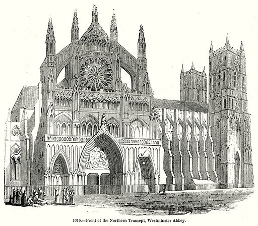 Front of the Northern Transept, Westminster Abbey. Illustration from Old England, A Pictorial Museum edited by Charles Knight (James Sangster & Co, c 1845).