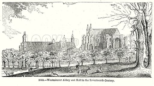 Westminster Abbey and Hall in the Seventeeth Century. Illustration from Old England, A Pictorial Museum edited by Charles Knight (James Sangster & Co, c 1845).