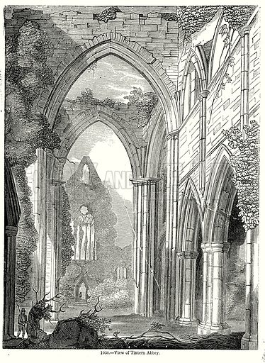 View of Tintern Abbey. Illustration from Old England, A Pictorial Museum edited by Charles Knight (James Sangster & Co, c 1845).