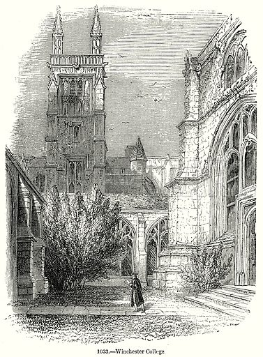 Winchester College. Illustration from Old England, A Pictorial Museum edited by Charles Knight (James Sangster & Co, c 1845).